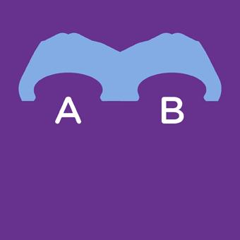 Grafische weergave van twee portemonnees met de letters A en B erop. Eronder staat 'Vergelijk'.