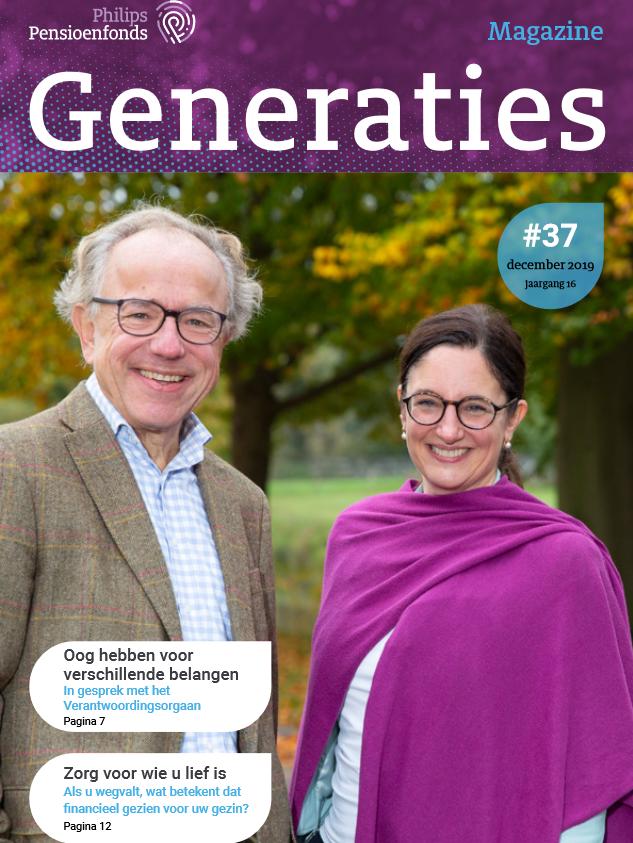 De cover van de december-editie van Generaties van Philips Pensioenfonds. Een man en een vrouw staan in een bos.